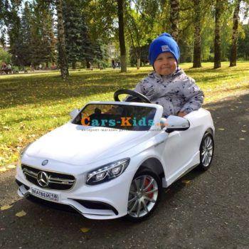 Электромобиль Mercedes-Benz S63 AMG белый (колеса резина, сиденье кожа, пульт, музыка)