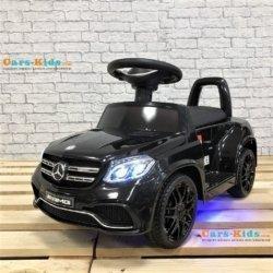 Электромобиль каталка Mercedes-AMG GLS63 HL600 LUX черный (колеса резина, кресло кожа, пульт, музыка)